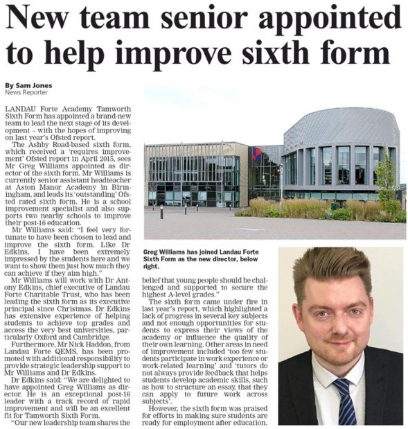 Tamworth Herald newspaper article about Tamworth Sixth Form's new Senior Leadership team