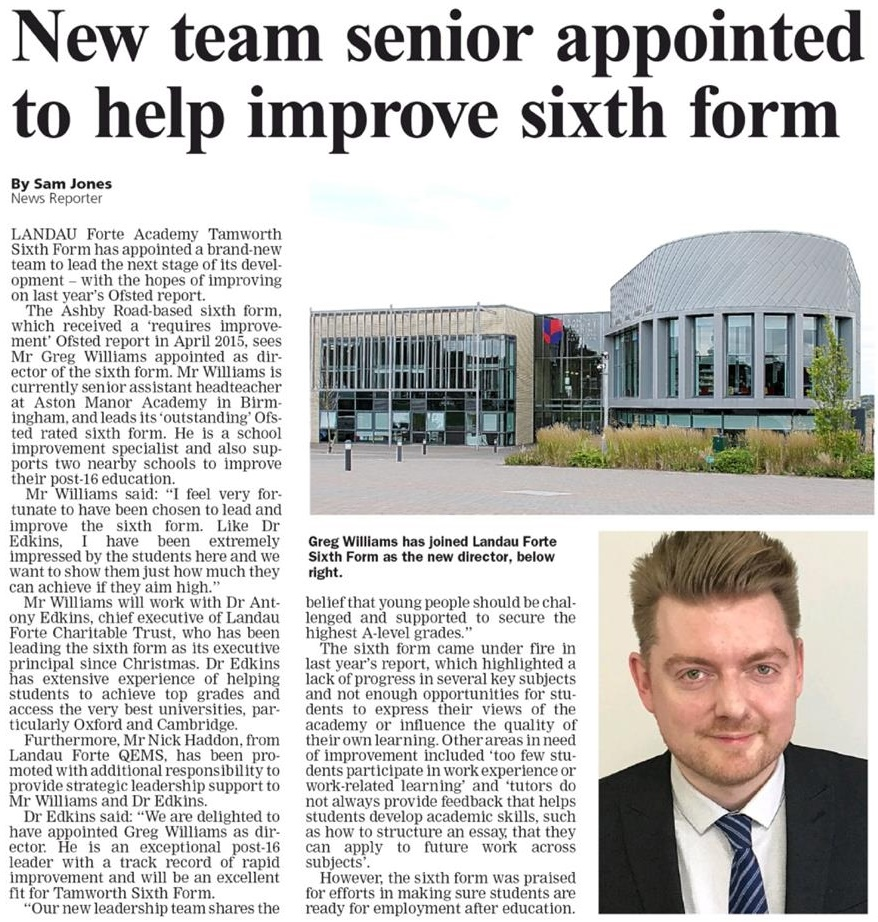 Tamworth Herald newspaper article about Tamworth Sixth Form's new Senior Leadership team
