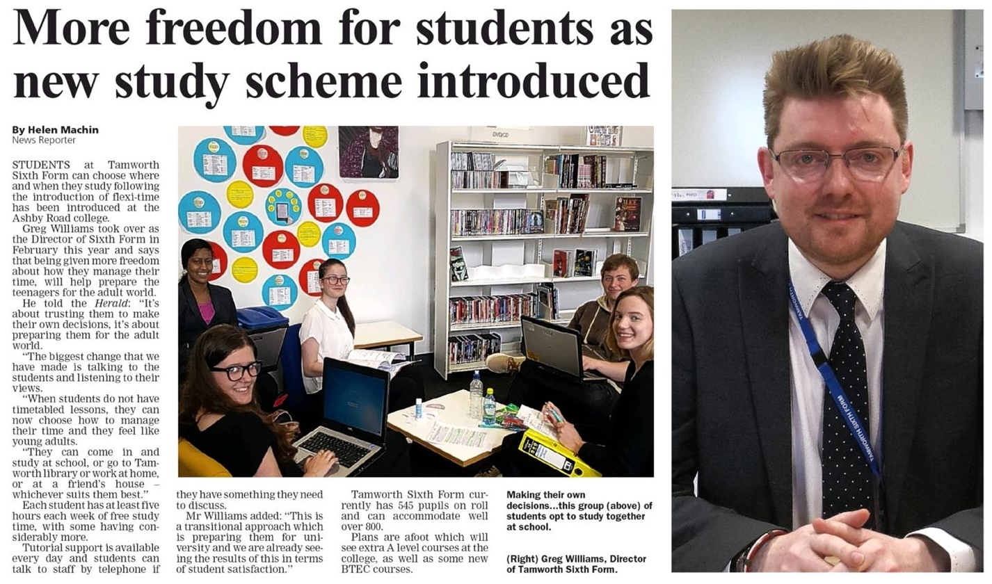 Tamworth Sixth Form featured in Tamworth Herald