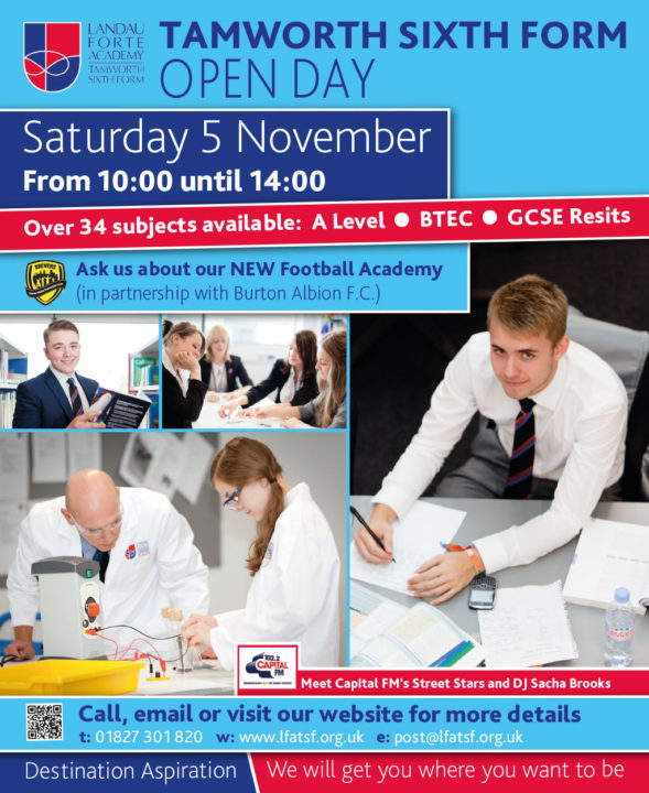 A newspaper advert for the November 2016 Open Day at Tamworth Sixth Form